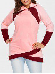Sweat-Shirt en Blocs de Couleurs Fendu sur le Devant Grande-Taille -