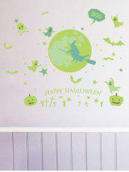 Halloween Witch Pumpkin Pattern Luminous Wall Stickers -