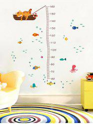 Cute Cat Underwater World Pattern Height Measure Wall Stickers -