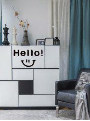 Smiley Face Hello Pattern Removable Wall Sticker -
