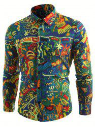 Retro Abstract Print Long Sleeve Shirt -