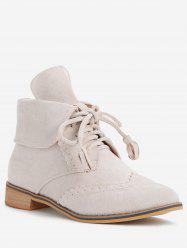Fold Over Lace Up Wingtip Boots -