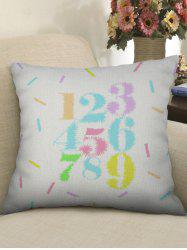 Number 1 to 9 Printed Decorative Linen Pillowcase -