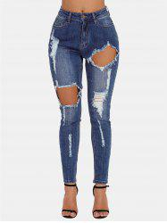 Ripped Front Cut Out Skinny Jeans -