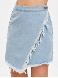 Asymmetrical Fringe Trim Denim Skirt -