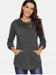 Cowl Neck Kangaroo Pocket Sweatshirt -