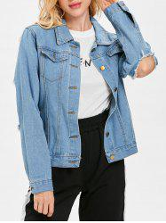 Ripped Cut Out Sleeve Denim Jacket -
