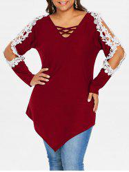 Rosegal Plus Size Lace Applique Criss Cross Top -