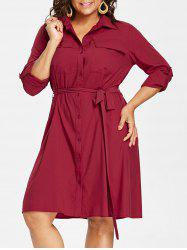 Plus Size Flap Pockets Shirt Dress -
