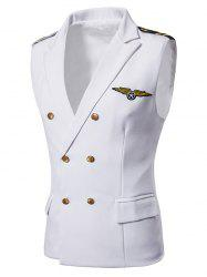 Embroidered Epaulette Chest Applique Double Breasted Waistcoat -