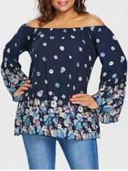 Plus Size Floral Off The Shoulder Blouse -