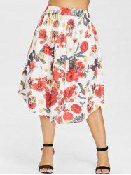 Plus Size Floral Pattern Midi Skirt -