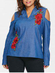 Plus Size Eyelet Cold Shoulder Chambray Top -