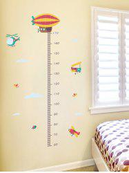 Fire Balloon Aircraft Print Height Growth Chart Wall Stickers -