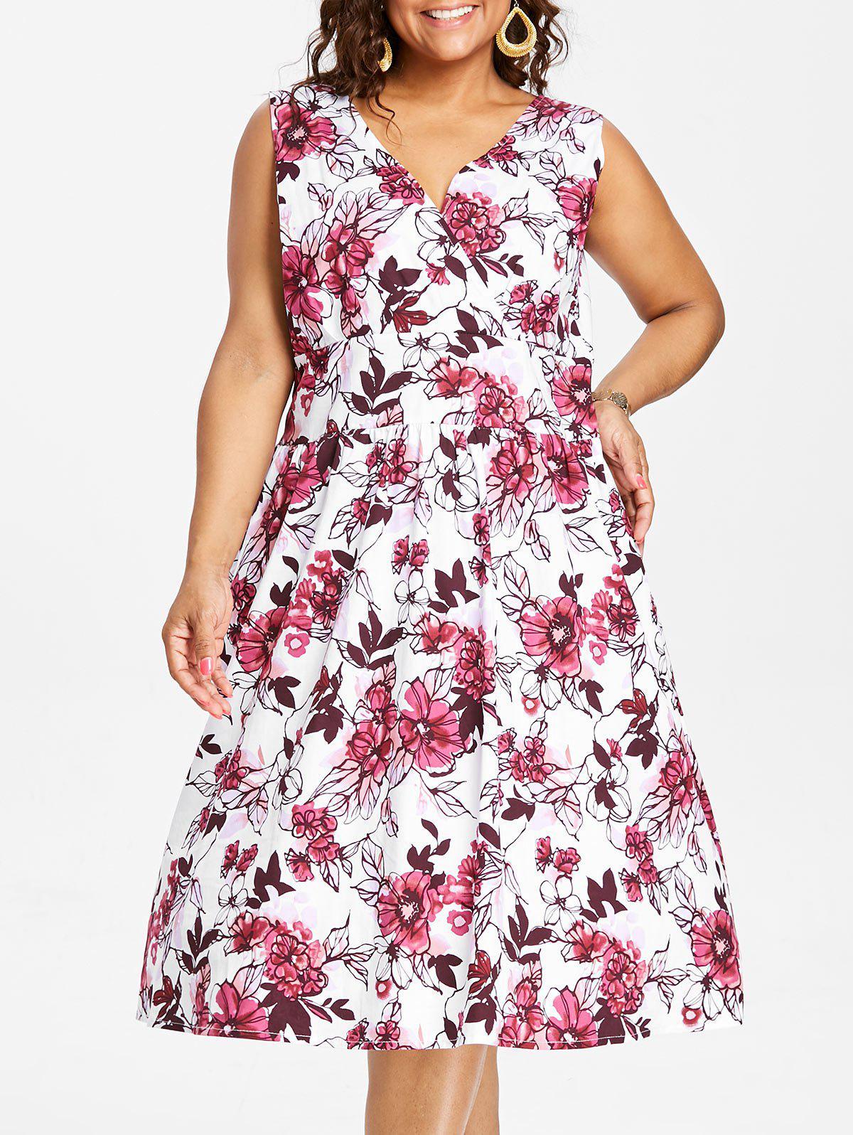 Chic Plus Size Sleeveless Fit and Flare Dress
