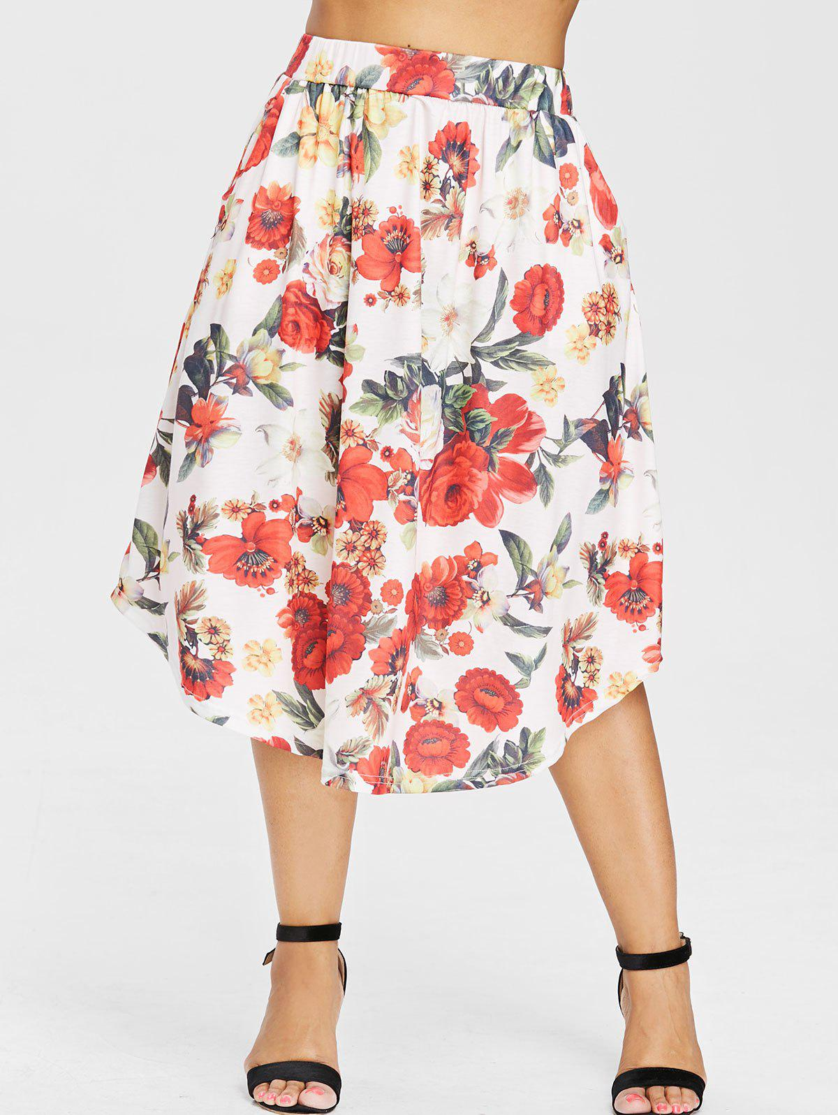 Unique Plus Size Floral Pattern Midi Skirt