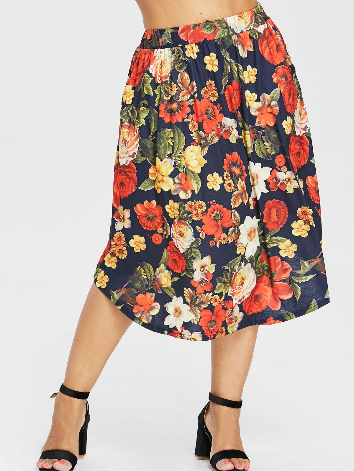 Outfit Plus Size Floral Pattern Midi Skirt