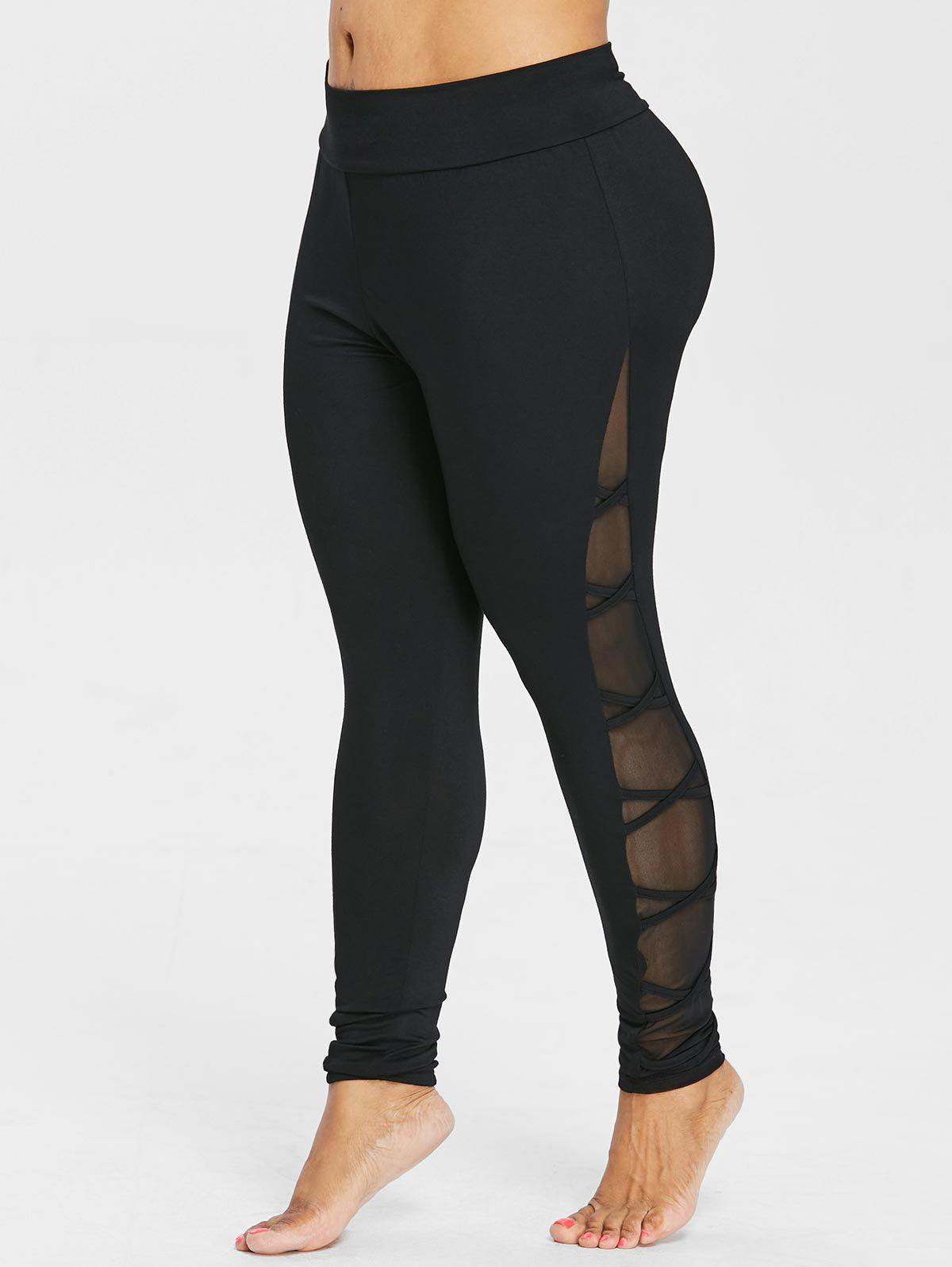Latest Plus Size Mesh Insert Wide Waistband Leggings