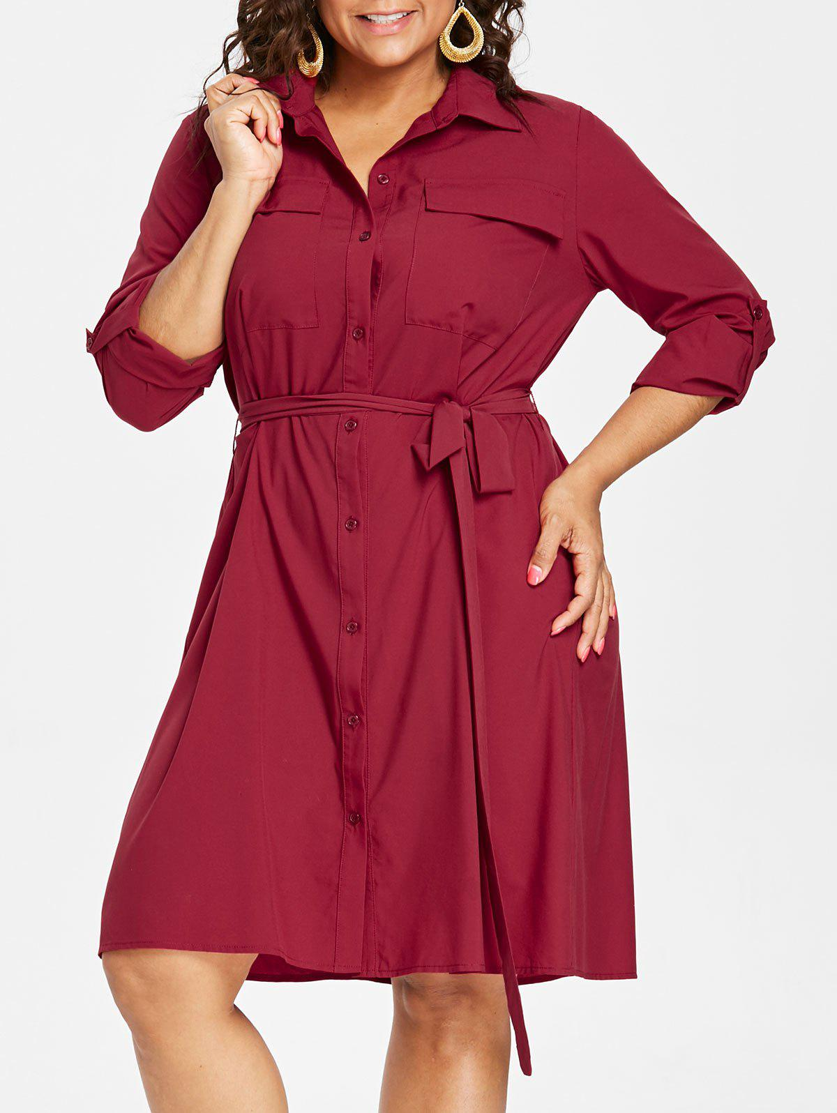 Chic Plus Size Flap Pockets Shirt Dress