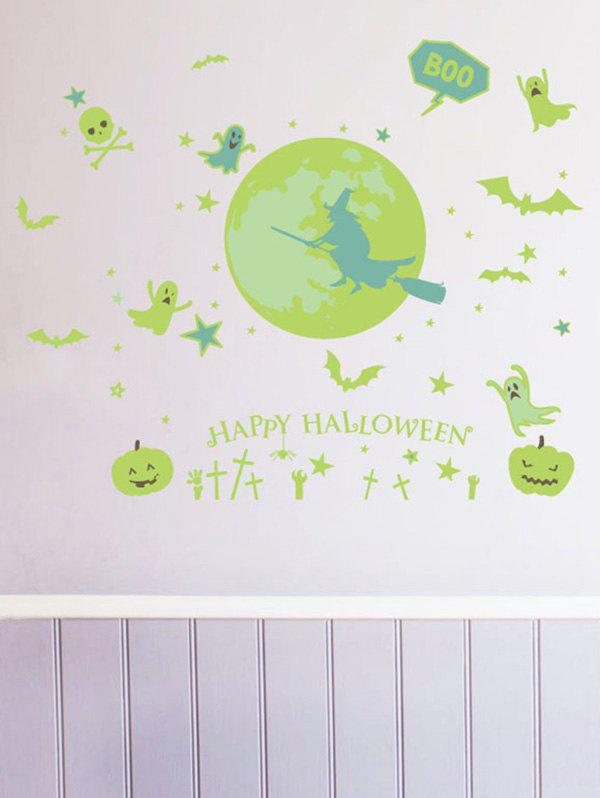 Unique Halloween Witch Pumpkin Pattern Luminous Wall Stickers