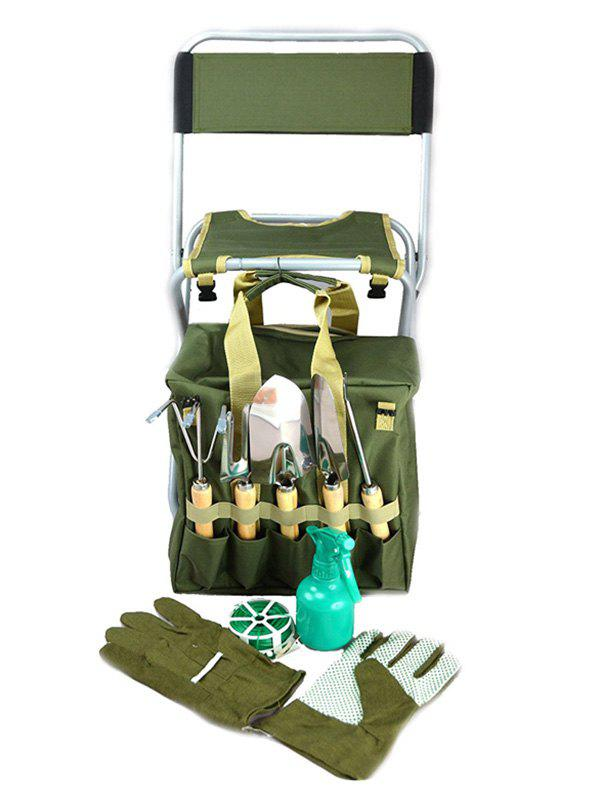 Best Multi-functional 9 Pcs Garden Tools and Folding Stool