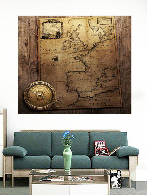 Sale Vintage Map With Compass Pattern Removable Wall Stickers