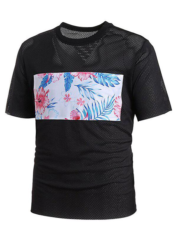 Latest Crew Neck Mesh Floral Print Patch T-shirt