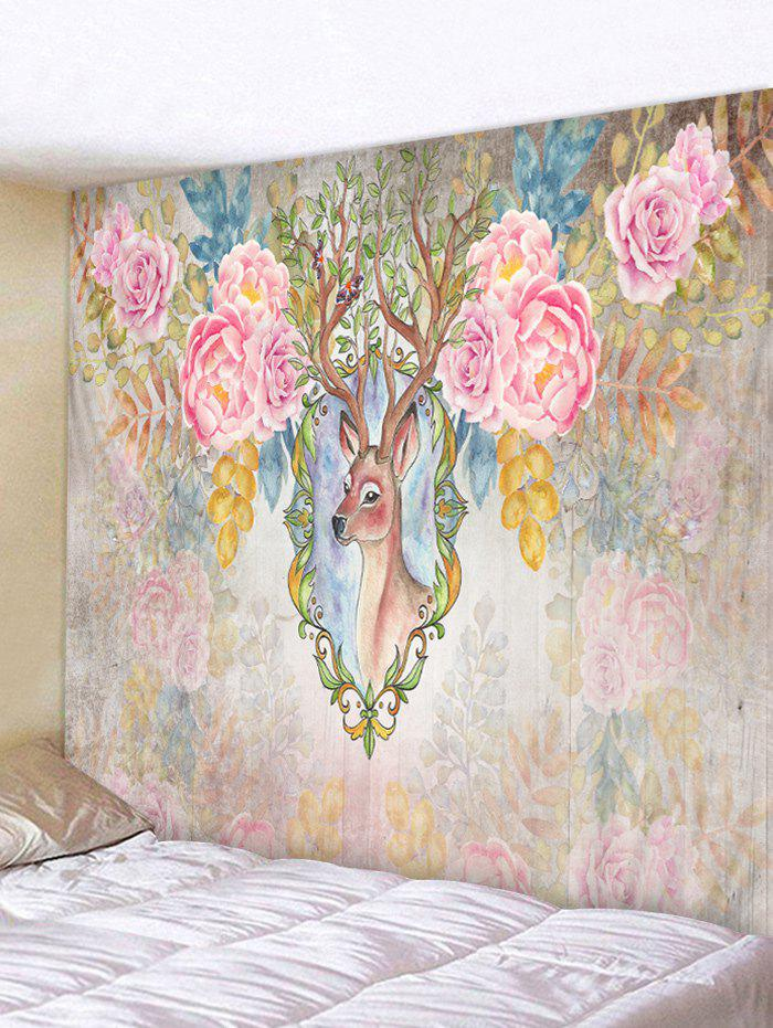 Cheap Wall Hanging Art Flowers Deer Print Tapestry
