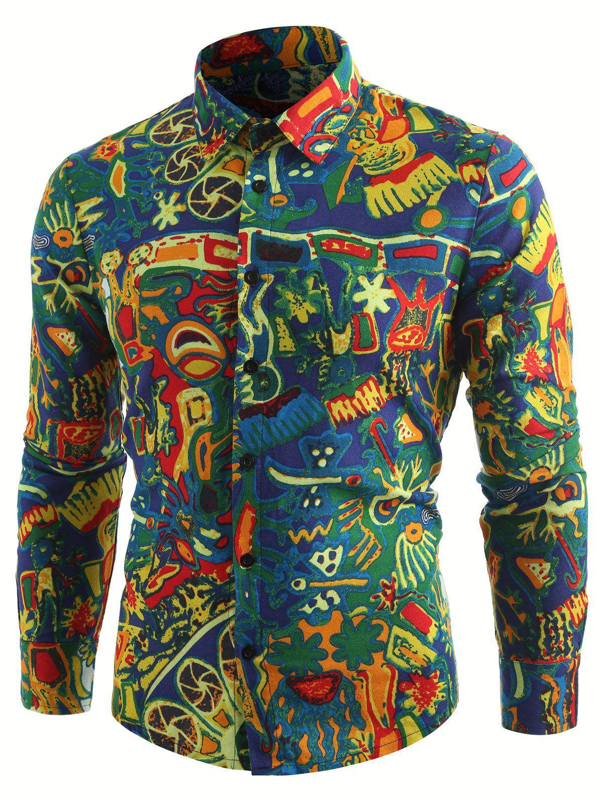 Best Retro Abstract Print Long Sleeve Shirt