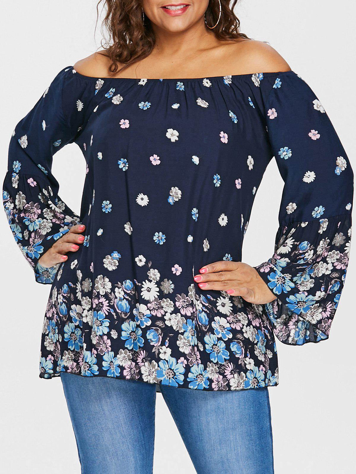 Outfits Plus Size Floral Off The Shoulder Blouse