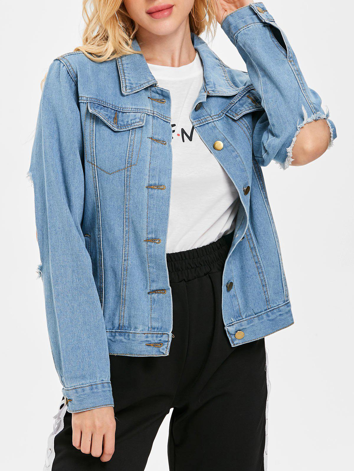 Online Ripped Cut Out Sleeve Denim Jacket