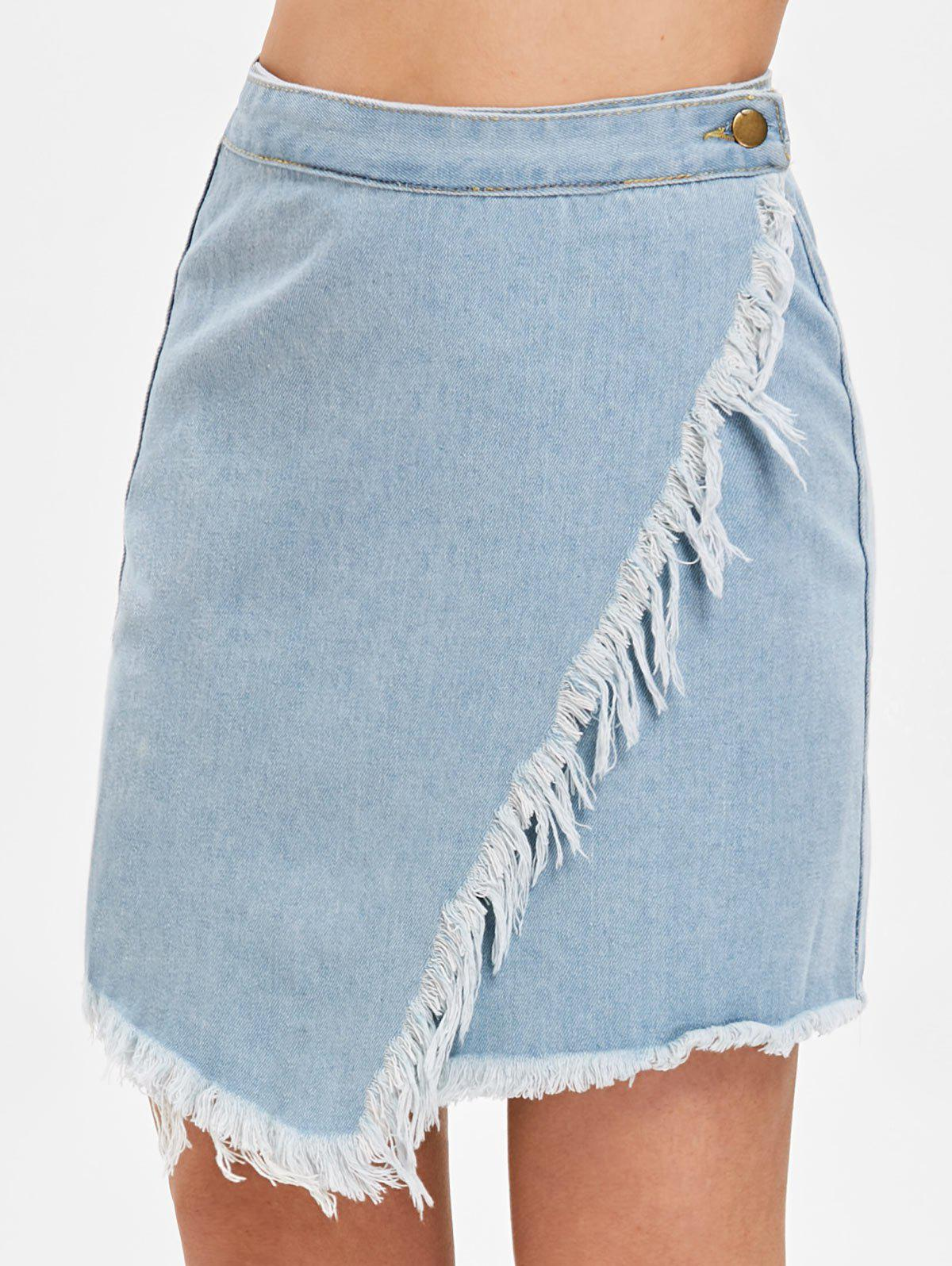 561921cfdba 53% OFF   2019 Asymmetrical Fringe Trim Denim Skirt