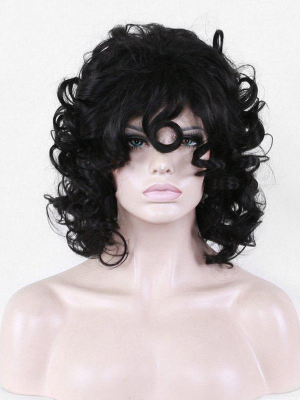 Discount Short Inclined Bang Big Curly Synthetic Wig