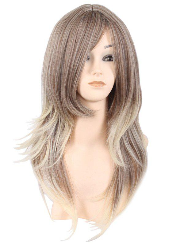 Chic Inclined Bang Long Layer Natural Straight Colormix Synthetic Wig