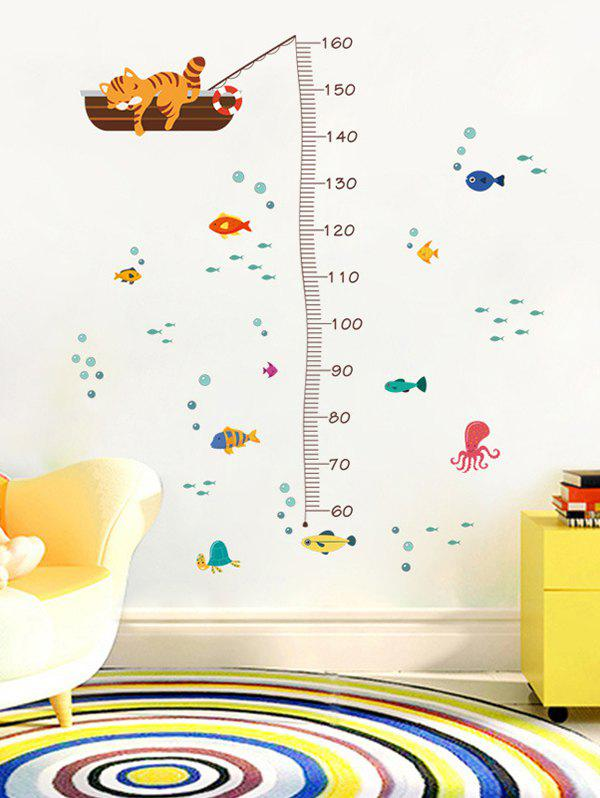 Affordable Cute Cat Underwater World Pattern Height Measure Wall Stickers