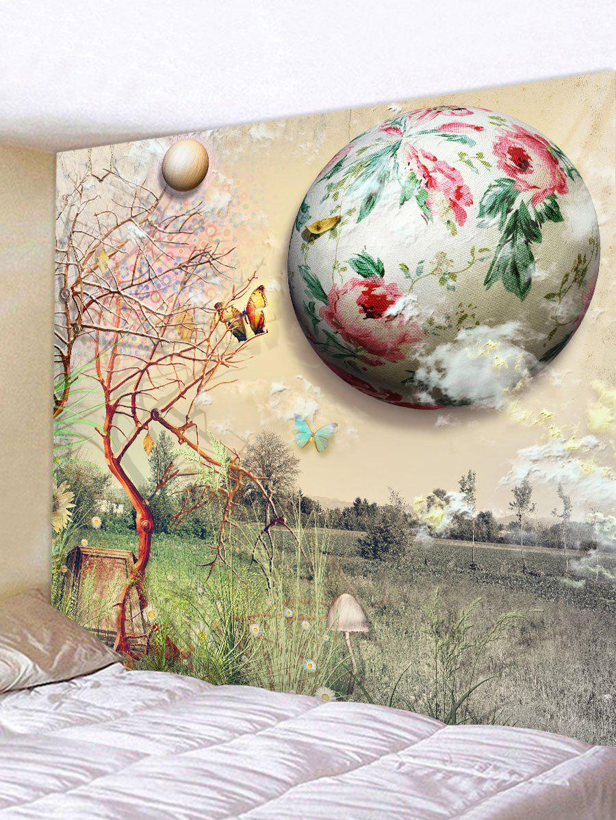 Store Wall Hanging Art Floral Planet and Butterfly Print Tapestry