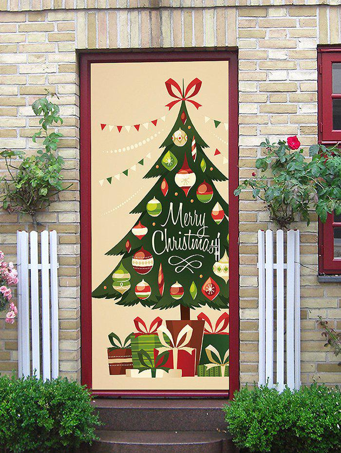 Shops Merry Christmas Tree Print Decorative Door Stickers