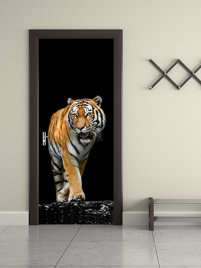 Shop Walking Tiger Print Removable Door Stickers