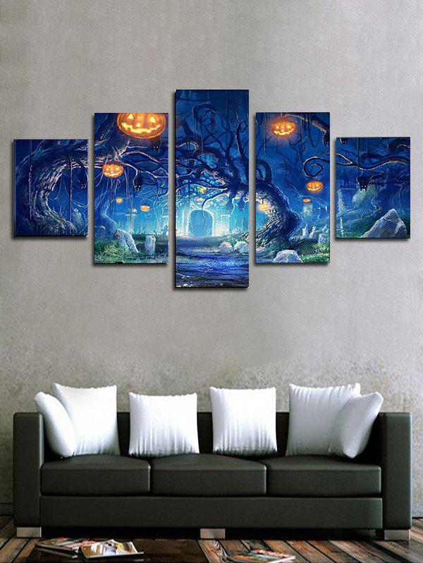 New Halloween Pumpkin Tree Print Unframed Split Canvas Paintings