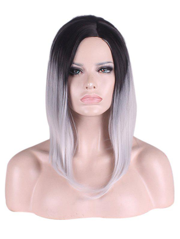 Fashion Medium Side Parting Ombre Straight Bob Synthetic Wig