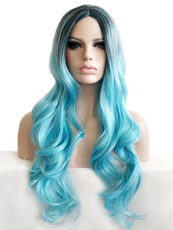 Trendy Center Parting Long Ombre Wavy Cosplay Synthetic Wig