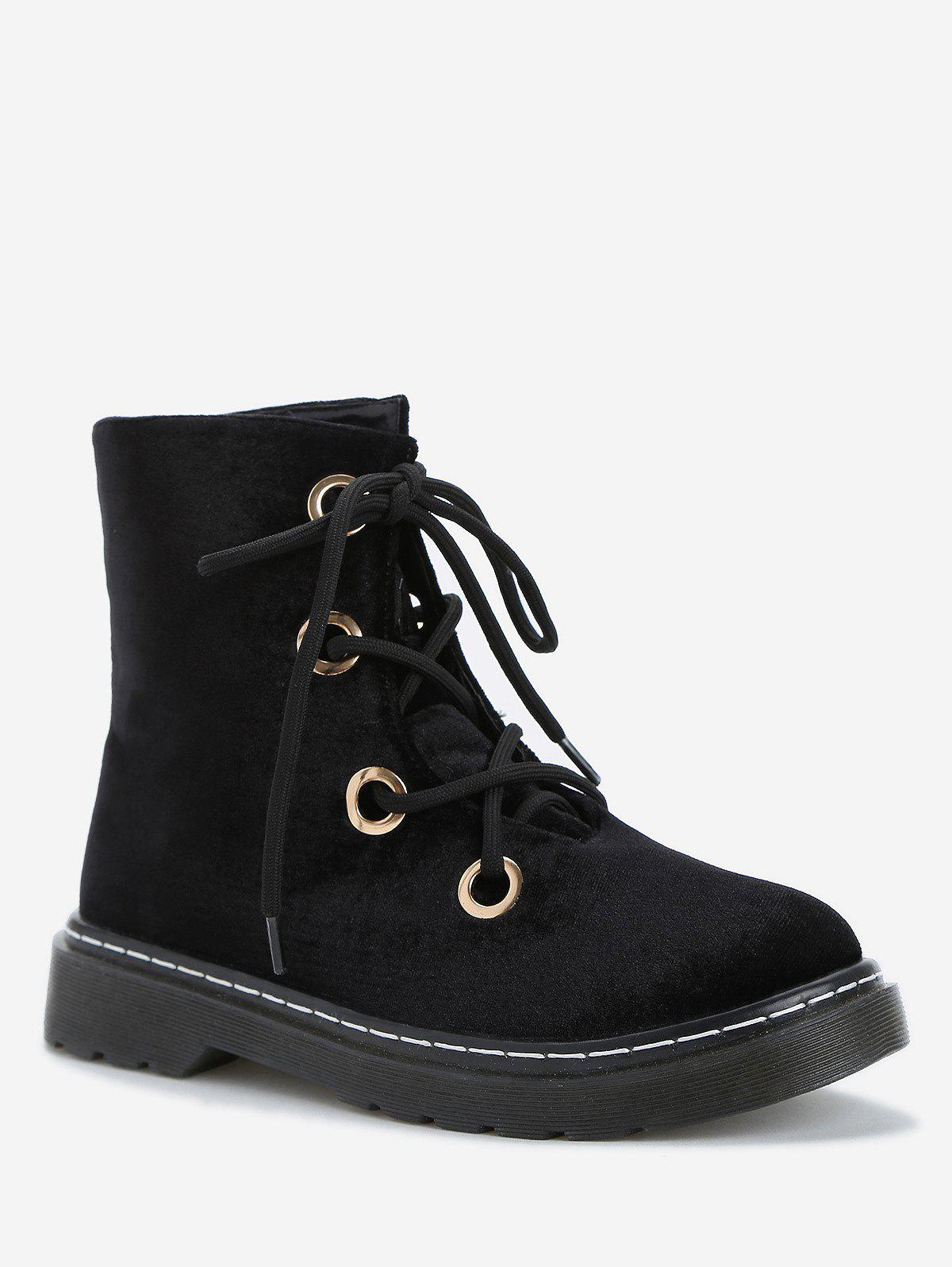 Hot Chic Low Heel Lace Up Ankle Boots