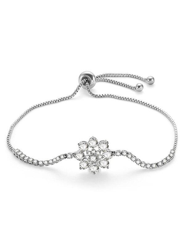 Shop Rhinestone Flower Design Adjustable Bracelet