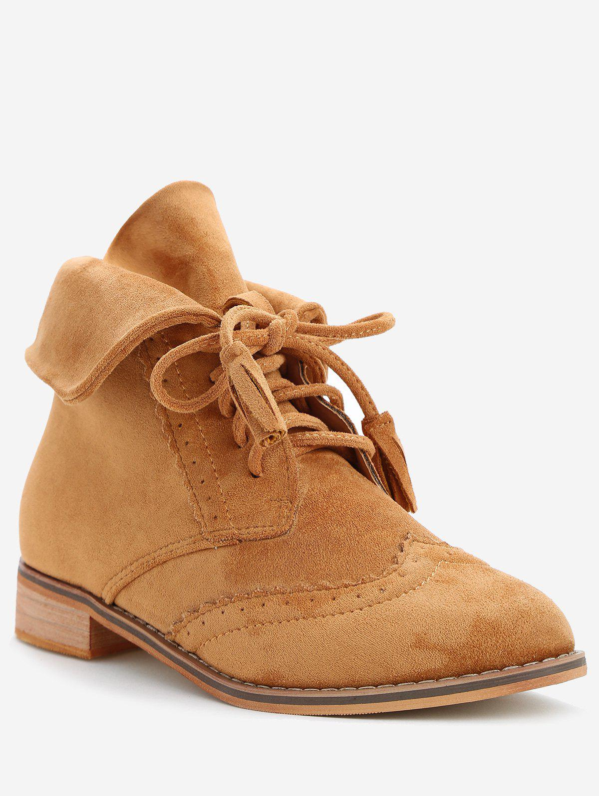 Store Fold Over Lace Up Wingtip Boots