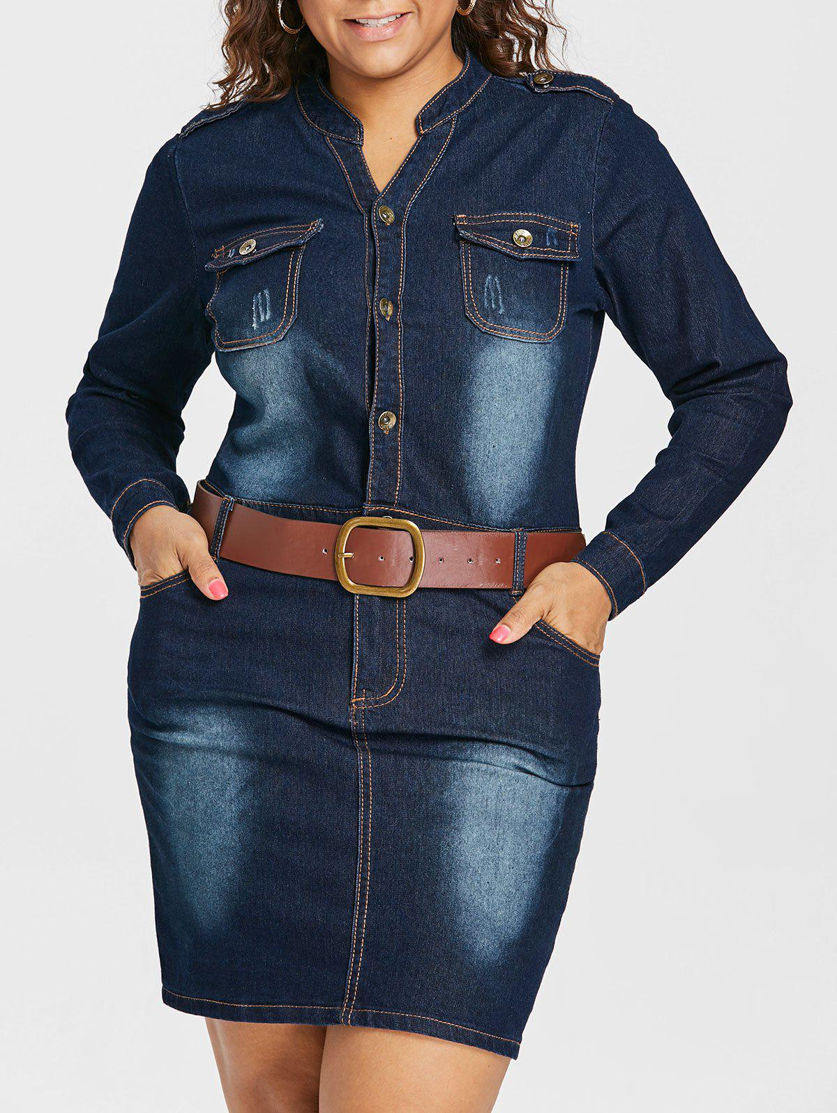 Outfits Plus Size Fitted Denim Jean Dress with Belt