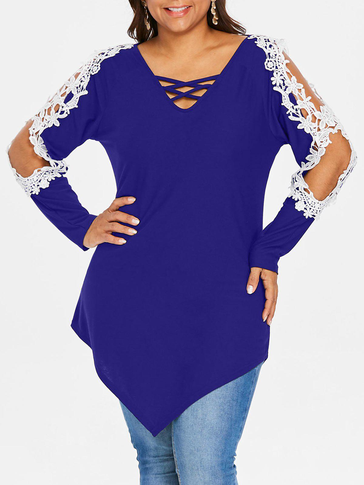 Sale Rosegal Plus Size Lace Applique Criss Cross Top