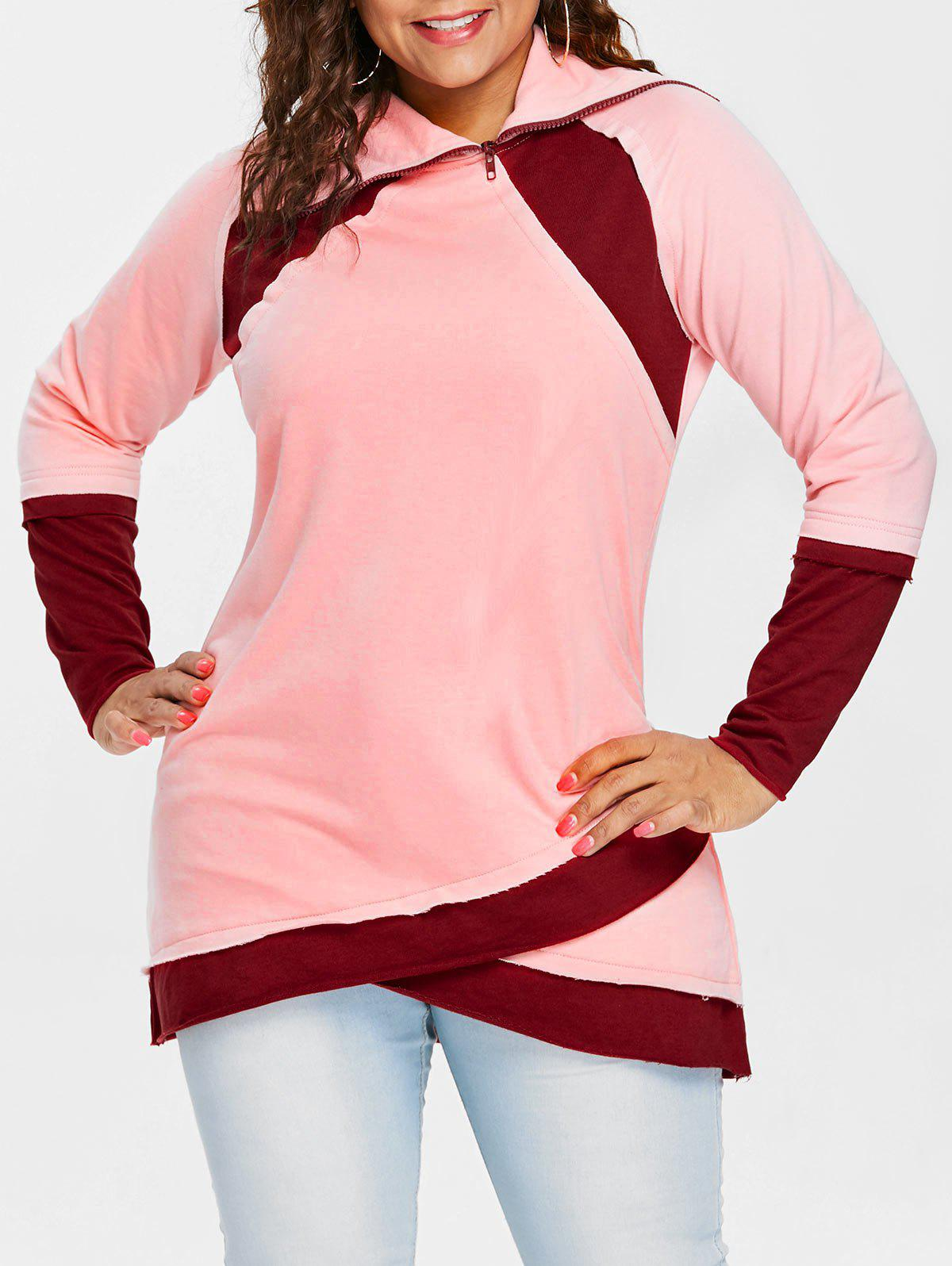 Sweat-Shirt en Blocs de Couleurs Fendu sur le Devant Grande-Taille