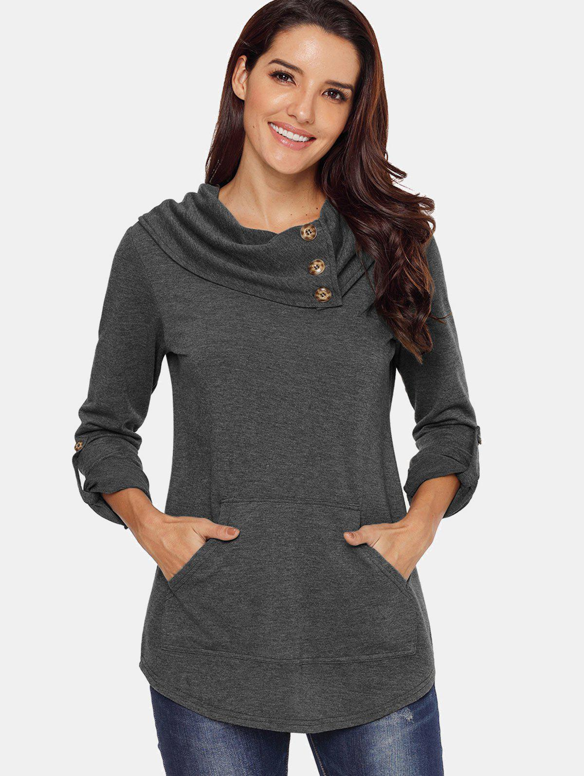 Outfits Cowl Neck Kangaroo Pocket Sweatshirt