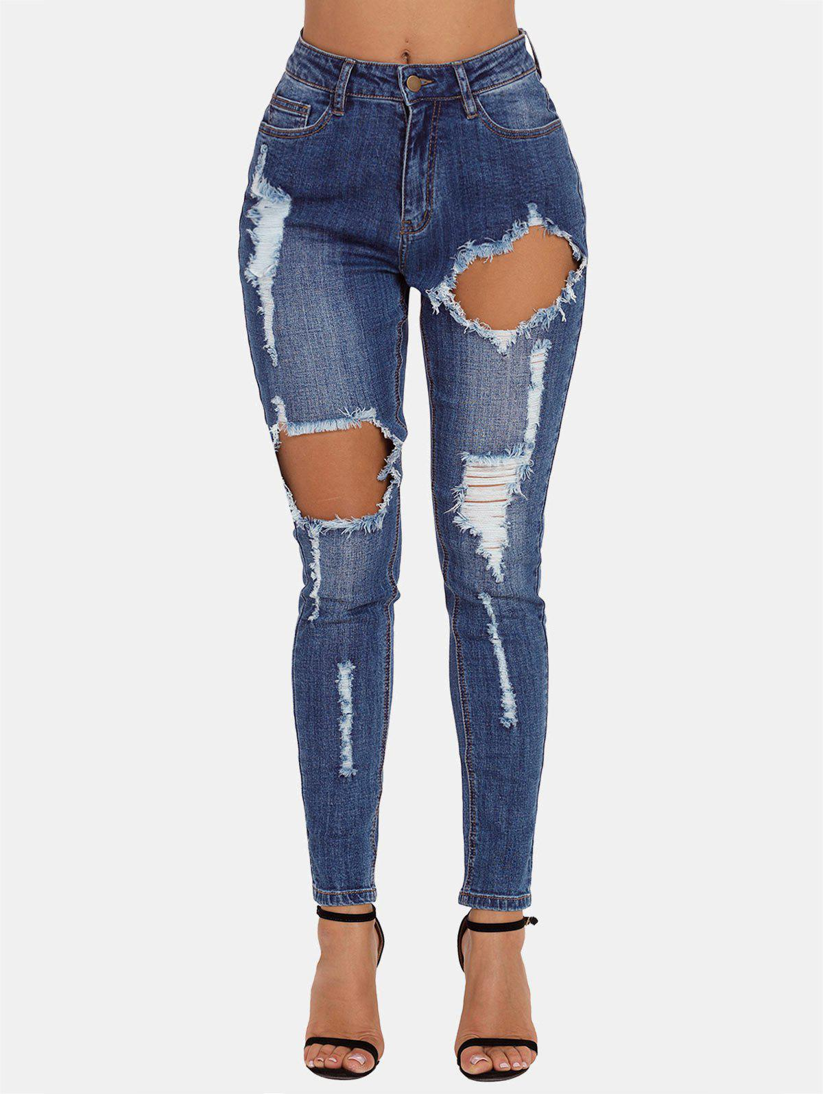 Fancy Ripped Front Cut Out Skinny Jeans