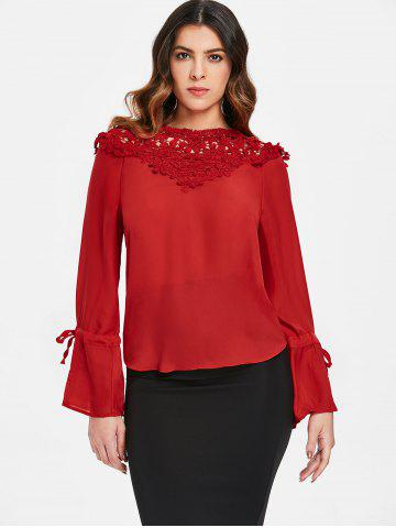 Tie Sleeve Lace Panel Blouse
